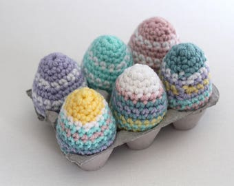Crochet Easter Eggs, Set of 6 Pastel Striped Easter Decorations. Kid Friendly Easter Decor, Easter basket gift.