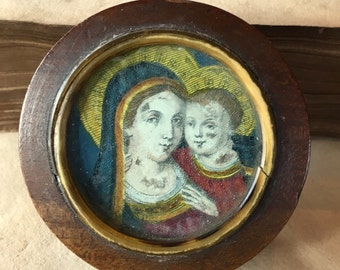 Vintage Rosary Box Mother Mary and Child