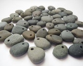 Top Drilled Beach Pebble Beads-  Set of 50 Beads
