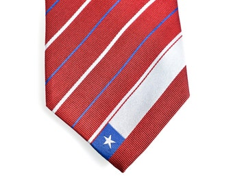 Chile Tie - Inspired by the Chilean Flag with Personalized Tag. Chilean Tie. LDS Missionary. Husband Gift, Missionary Gift.