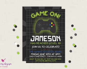 Gaming Invitation / Gamer Party / Gaming Party / Gaming Truck / Gamer Party / Video Games / Playstation / Xbox / Gaming Birthday / Boy Party