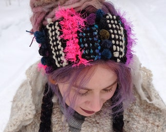 Black boho headband Dreadlocks headband Dreadlocks wrap Gypsy headband Black  headband Ready to ship Black hair wrap Festival hair