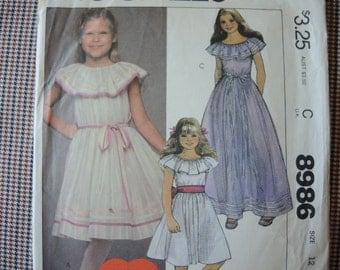 vintage 1980s McCalls sewing pattern 8986 Girls' dress size 12