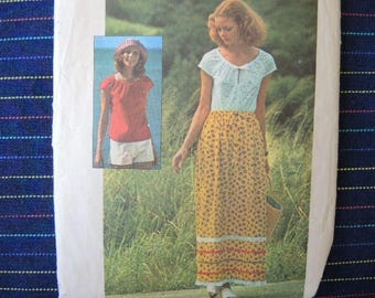 vintage 1970s simplicity sewing pattern 6960 misses jiffy pullover top skirt and shorts size medium 12-14
