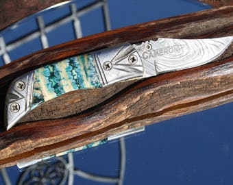 Handmade in USA Damascus Pocket Knife with Blue Fossil Tooth Handles, FREE 3-day Priority Shipping
