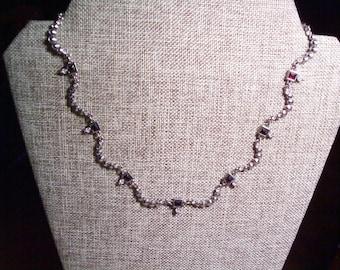 Vintage Rhinestone necklace choker, estate jewelry