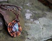 Tribal macrame boho fairy necklace with rainbow labradorite