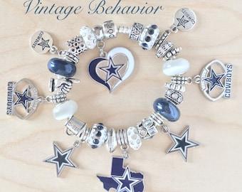 Authentic 925 PANDORA Bracelet with European Charms Dallas Cowboys Theme