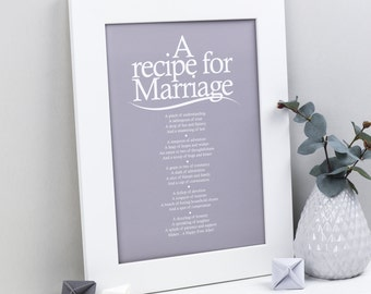 Wedding Gift - Recipe for Marriage Poem Print - Wedding Reading ...