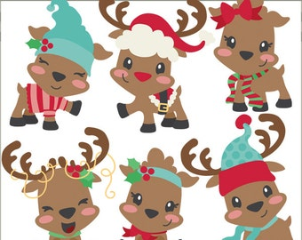 Christmas Clipart Cute Reindeer -Personal and Limited Commercial Use- Santa Reindeer Clip art