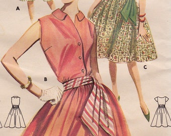 """UNCUT 60s Womens Full Skirted One Piece Summer Dress Vintage Sewing Pattern [Butterick 9754] Size 16, Bust 36"""" Complete"""