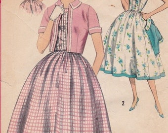 "1958 Misses Dress w/ Full Skirt & Jacket Vintage Sewing Pattern [Simplicity 2448] Size 14, Bust 34"", Partially Cut"