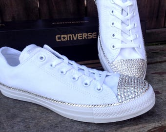 White Wedding Converse Canvas Low Top Bling Crystal Bridal Date Custom w/ Swarovski Rhinestone Jewel Chuck Taylor All Star Sneakers Shoes