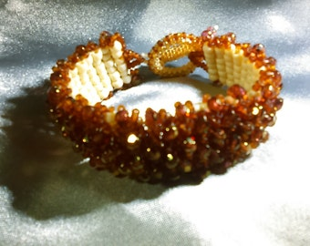 Rose Gold Layered Bracelet, Fits 6.75 Inch Wrist, Beaded Bracelet