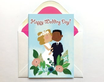 Cute Wedding Card, Interracial Wedding, Mixed Race,Hand Drawn, Engagement Card, Mix Couple, Black Groom, Colour Blind Card, Ethnic Couple,