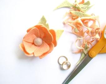 Boutonniere Summer Wedding Custom Color Felt Flower Peach Tangerine Flower Groom's Flower Groomsmen Corsage Lapel Flower Buttonhole