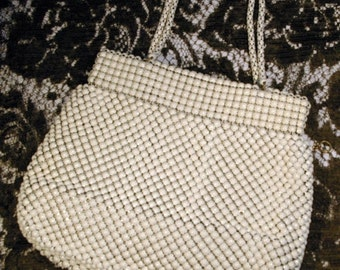 ON SALE Vintage 1930s 1940s Corde Bead Style Ivory Evening Bag Purse Alumesh Whiting & Davis Co. Bags Made in USA