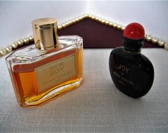 2) Jean Patou JOY Perfume Bottles Black Vintage Collectible & JOY in 1 oz HP Bottle