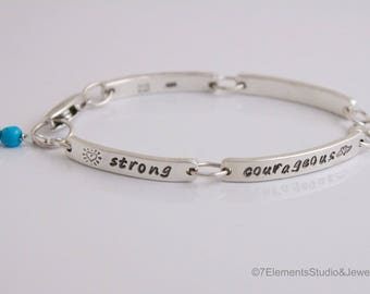 Sterling Silver Personalized Bracelet, Contract Bracelet, Medical ID Bracelet