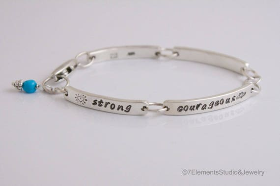 Sterling Silver Personalized Bracelet, Contract Bracelet, Easy-Clasp Linked Bar Bracelet, Personal Growth Bracelet