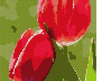 Needlepoint Kit or Canvas: Red Tulips