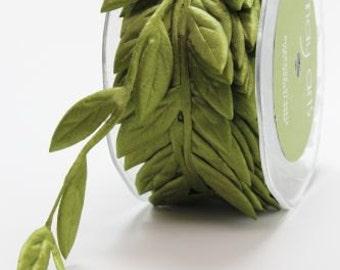 3 Yards May Arts Jumbo Olive Leaves Ribbon Free Shipping