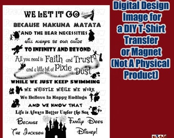 Digital Disney Themed Family Shirt Transfer Personalized T-Shirt Iron On Transfer –  Matching Family Shirts DIY Disney Shirt
