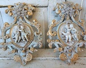 Ornate plaque set wall hanging plaster scroll cherubs vintage shabby cottage chic embellished rhinestone chalkware decor anita spero design