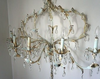 Toleware candelabra electric wall lighting large painted pale bluest distressed shabby cottage chic light fixture decor anita spero design