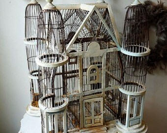 Antique bird cage large ornate wood wire rusted painted shabby cottage chic rusty distressed with handmade crowns decor anita spero design