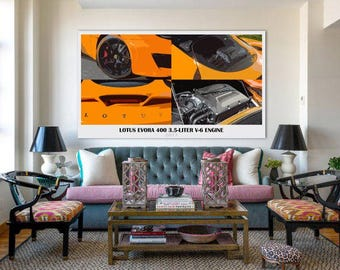 Lotus Evora 400,DETAILS,Orange,Fast car,8x14 in and more|Car Art print|gift for men|Classic cars|anniversary gift for him|gifts for her