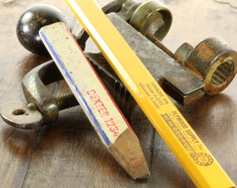 Two Vintage Wooden Carpenter's Pencils - Lumber Yard Hardware Store Business Advertisement - Wooden Pencil Toolbox