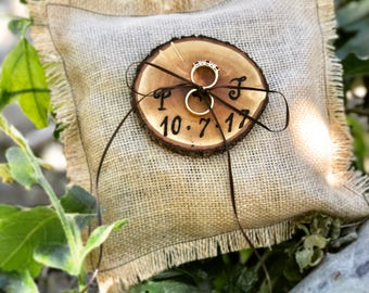 Burlap Ring Bearer Pillow, wedding ring bearer pillow, bulap ring bearer