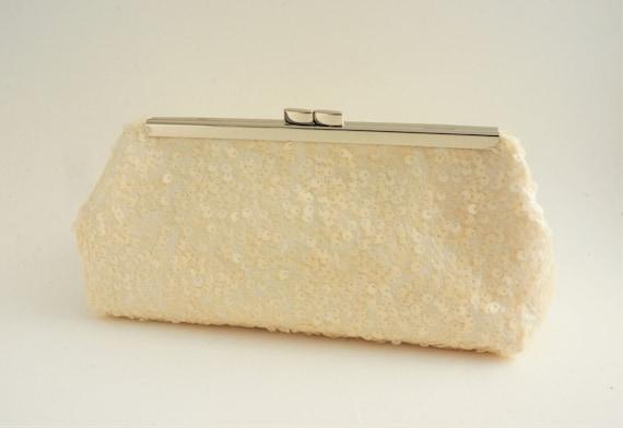 Shimmering Ivory Sequin Bridal Clutch Purse - Sequin Bridesmaid/Evening/Formal Handbag - Crossbody Option - Ready to Ship