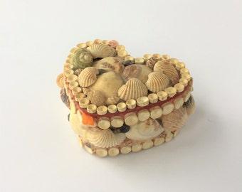 Shell Art Box, Vintage Sailor Valentine, Seashell Heart Box, Shell Jewelry Box, Sweetheart Keepsake Box, Valentine Trinket Box, Beach Decor