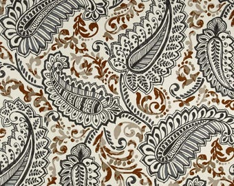 SUMMER SALE! NEW Shannon Caramel Brown, Blue, Natural shown, Paisley Curtains, Window Treatments 24W or 50W x 63, 84, 90, 96 or 108L