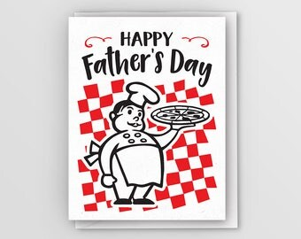 Father's Day Card // Happy Father's Day // Letterpress Card // Pizza Card // Pizza