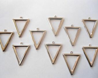 10 Vintage Silverplated Triangle Pendants Drops Earring Findings