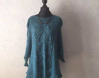 Poncho tunic knit hand