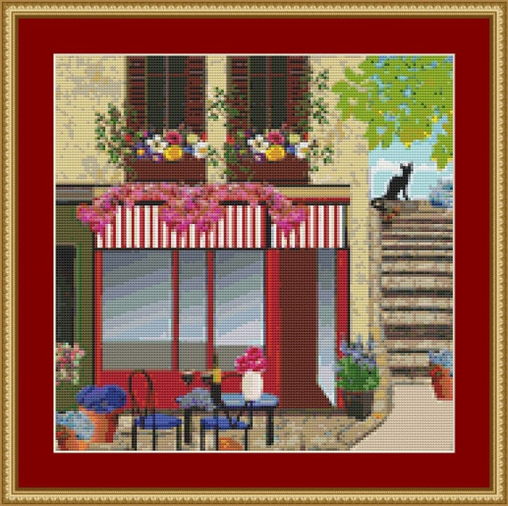 Cafe By The Steps Cross Stitch Pattern /Digital PDF Files /Instant downloadable