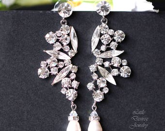 Bridal Chandelier Earrings Crystal & Pearl Bridal Earrings Statement Earrings Victorian Bridal Jewelry Sparkly Wedding Earrings PARIS