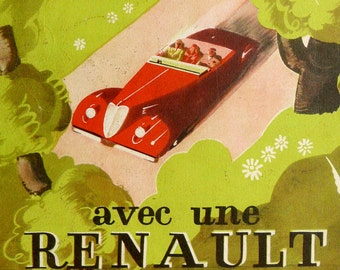 Vintage 1930s RENAULT SPORT CAR advertisement. Advertisement print. Advertisement poster. Art Deco print. Over 80 years old lithograph.