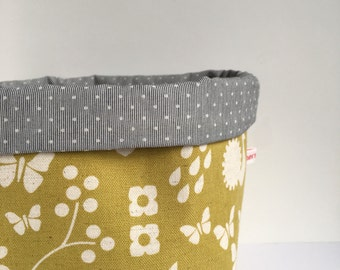 storage basket - canvas fabric storage bin - scandi style - butterflies, flowers, raindrops - mustard yellow nursery storage - organised mum