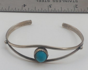 Vintage Sterling Silver Turquoise Native American Cuff Bracelet