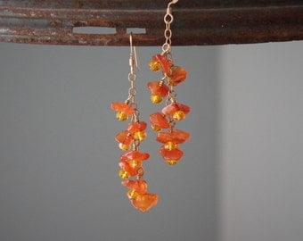 Dangly wire wrapped carnelian and crystal earrings