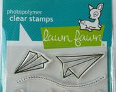 Lawn Fawn Paper Airplane Stamp mini clear set, 4 stamps, Flying by to say hi, Flying By LF386, clear stamps, card making, paper crafting