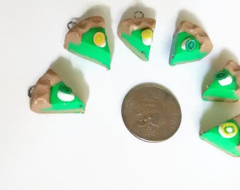 Key Lime Pie Charms, Mini food charms, pie charms, pi day, polymer clay food, polymer clay charms, kawaii charms, tiny food, food charms,