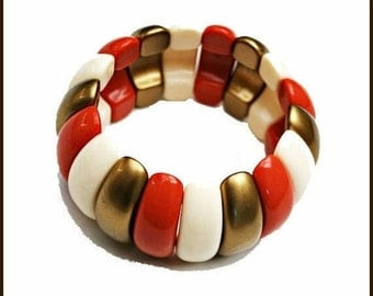 Lucite stretch Bracelet - Coral Gold  Cream - mod Bangle