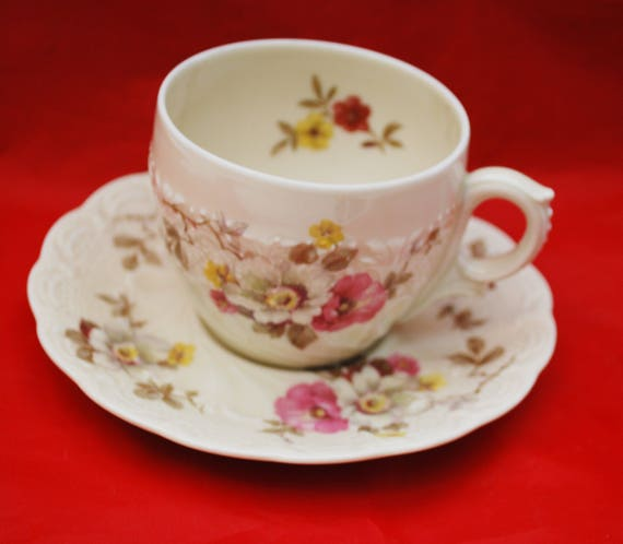 Hohenberg Bavaria -  tea cup and saucer - Flora Apple Blosson Vintage - Shabby Chic pink green
