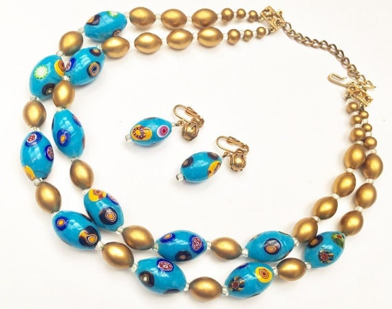 Hobe Bead Necklace and Earring set - Blue yellow gold - glass Beads - double strand - Clip on earrings